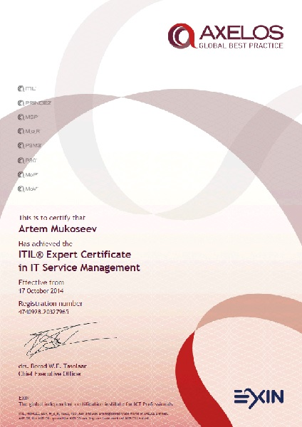 ITIL Expert Certificate in IT Service Management