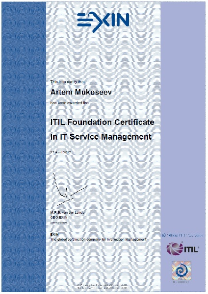 ITIL Foundation, EXIN, The Netherlands