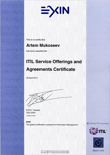 ITIL Service Offerings and Agreements (SOA), EXIN, The Netherlands