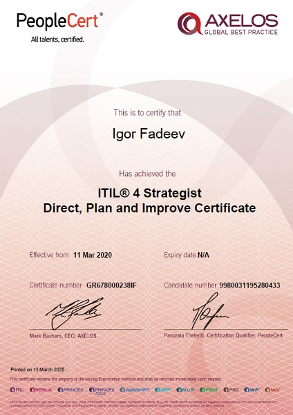 ITIL 4 Strategist: Direct, Plan and Improve (DPI)