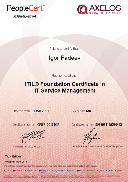 ITIL 4 Foundation Certificate in IT Service Management