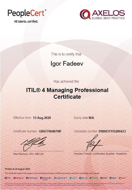 ITIL 4 Managing Professional